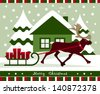 vector christmas card with reindeer pulling sledge with gifts - stock vector