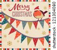 Vector Christmas card with robin redbreast sitting on festive bunting. Vintage color scheme, grunge layer can be turned off to achieve brighter colors. See my folio for more Christmas card templates. - stock vector