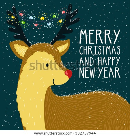 "Vector christmas card with smiling reindeer and garland on his horns. Holiday night background with hand drawing cartoon character, text ""Merry christmas and happy new year"". Winter card with deer. - stock vector"