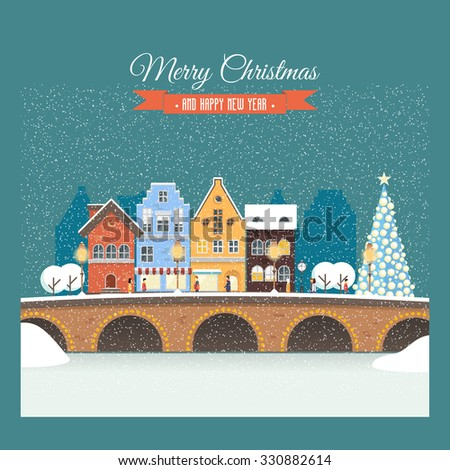 Vector Christmas card with snowy street, house, people. Illustration on the background of night sky and snowfall. Holiday rush, shopping for gifts. Perfectly for greeting card, invitation or banners. - stock vector