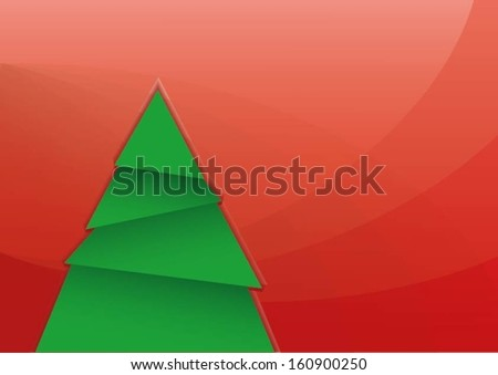 Vector Christmas card with tree and copy space