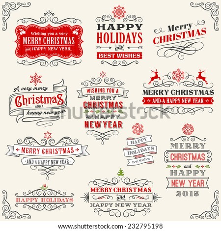 "Vector Christmas Chalkboard labels with ""Merry Christmas and Happy new year"" variations. The art is fully layered for ease of editing. - stock vector"