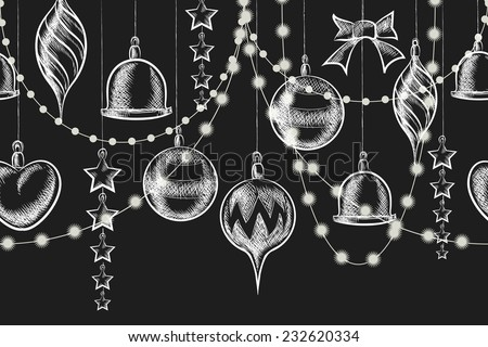 Vector Christmas Chalkboard Ornament. Balls, garlands and stars on blackboard - stock vector