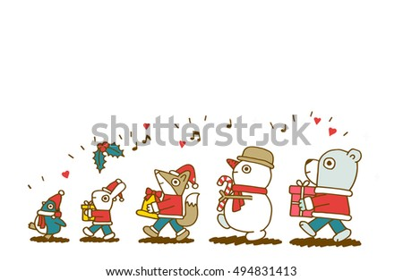 Vector Christmas characters. Fox, penguin, rabbit, snowman and bear.