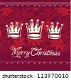 Vector Christmas crowns greeting card - stock vector