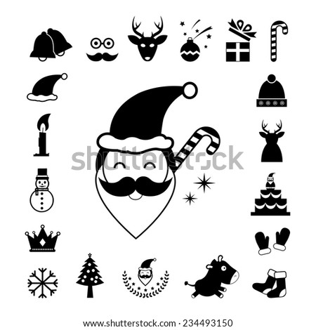 vector christmas day icon set