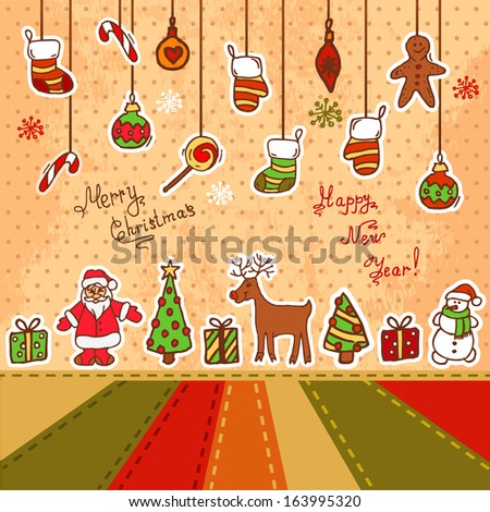 Vector Christmas Decoration Collection for Holiday Design. - stock vector