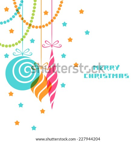 Vector Christmas decoration. Festive background. Greeting, invitation cute card. Original vintage swirl design element. Decorative illustration for print, web - stock vector