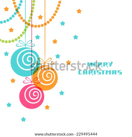 Vector Christmas decoration. Festive background. Greeting, invitation cute card. Original vintage swirl design element. Decorative illustration for print, web - stock vector