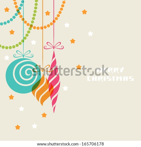 Vector christmas decoration made from swirl shapes. Color balls and toys with bow. Original modern design element. Greeting, invitation cute card. Festive simple decorative illustration for print, web - stock vector