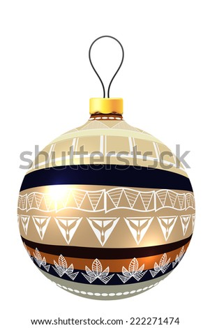 Vector Christmas decoration made from tribal shapes. Original circle design element.  Simple decorative color illustration  - stock vector