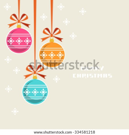 Vector Christmas decoration with ribbon and bow. Greeting, invitation cute card. Original design element. Decorative illustration for print, web - stock vector