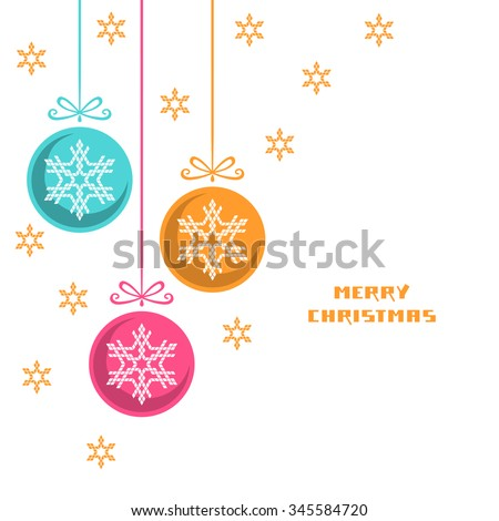 Vector Christmas decoration with snowflake. Greeting, invitation cute card. Original design element. Decorative illustration for print, web - stock vector