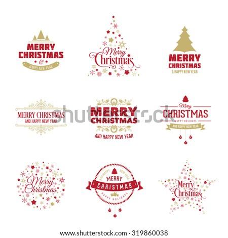 Vector Christmas design elements. Merry Christmas vintage labels, decoration, frames collection - card, banner, design. - stock vector