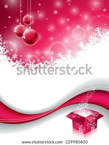 Vector Christmas design with magic gift box and red glass ball on snowflakes background. EPS 10 illustration. - stock vector