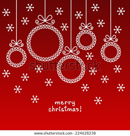 Vector christmas doodle balls in shape of frame for family photo or text box. Cute invitation, greeting card. Red linear illustration for print, web - stock vector