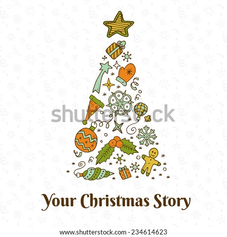 Vector christmas doodles card with your christmas story. Eps10