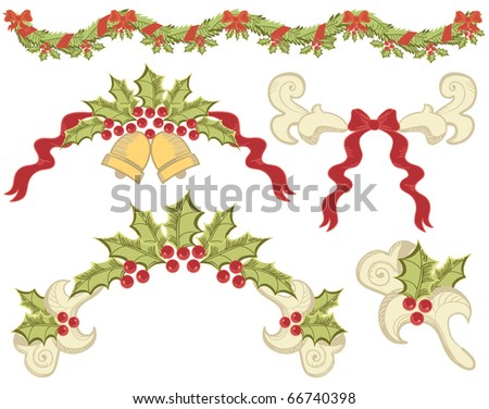 Vector christmas elements with ashberry on white for design - stock vector