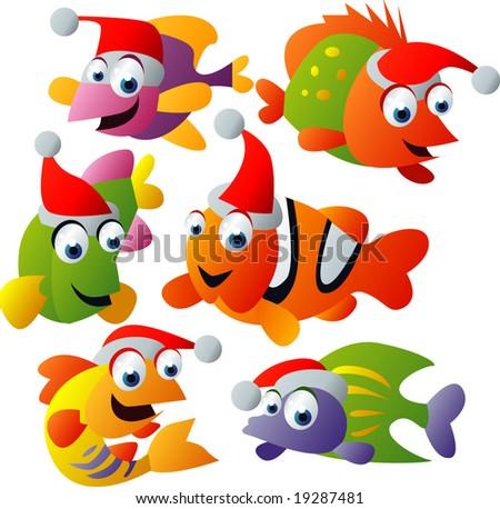 vector christmas fish - stock vector