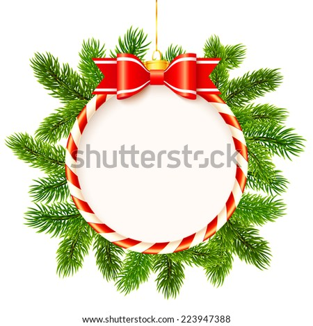 Vector Christmas frame with red bow and fir tree branches - stock vector