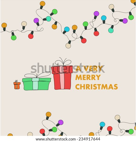 Vector Christmas garland & gift