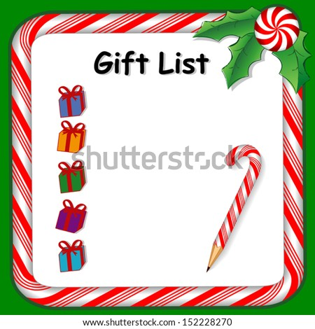vector -  Christmas Gift List on whiteboard with candy cane frame in red and green, candy cane pencil, holly, peppermint candy trim. To organize holiday gifts and presents. EPS8 compatible. - stock vector