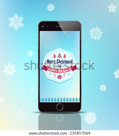 vector christmas gift phone, merry christmas ad, poster, card with black phone, apple iphone 6 - stock vector