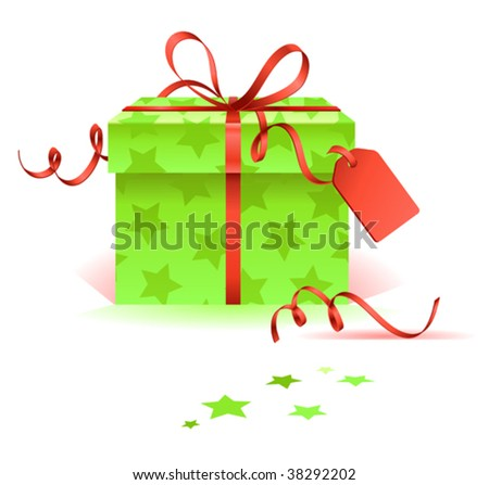 vector christmas gift with tag - stock vector