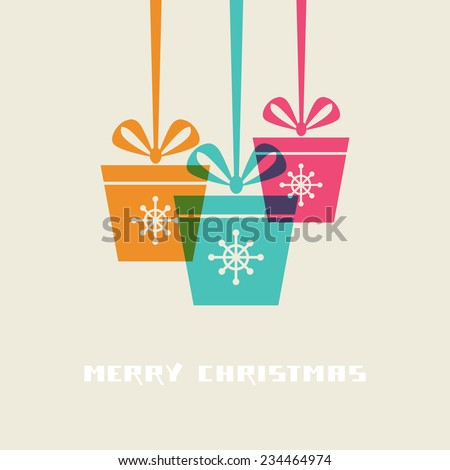 Vector Christmas gifts with ribbon and bow. Original design element. Greeting, invitation cute card. Decorative illustration for print, web - stock vector
