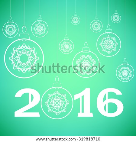 Vector Christmas Glass Balls Isolated on Green Background - stock vector