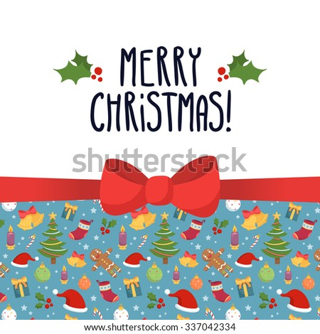 Vector Christmas greeting card design template with holiday symbols - stars, santa hats, bells, gifts, socks, christmas trees, decorations, candles, gingerbread men and holly- and cute bow - stock vector