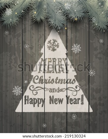 Vector Christmas greeting card - holidays lettering on a grey wooden texture background, vector. - stock vector