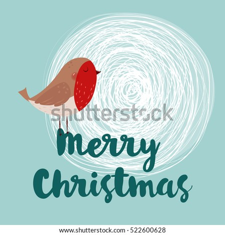 Vector Christmas greeting card. Little cute robin. Merry Christmas lettering, vector illustration. Holidays lettering with a robin on a winter snow background.