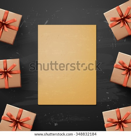 Vector Christmas Greeting Card with gift box. Happy new year xmas. Paper for design - stock vector