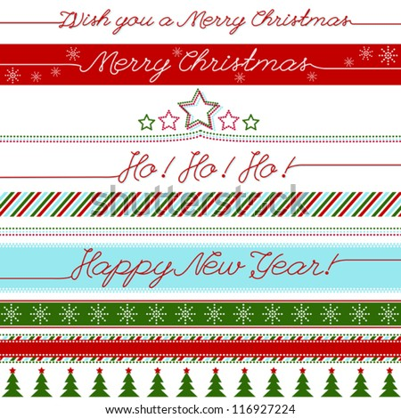 Vector Christmas greetings banners set - stock vector