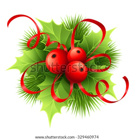 Vector Christmas holly with berries. Vector illustration EPS 10 - stock vector