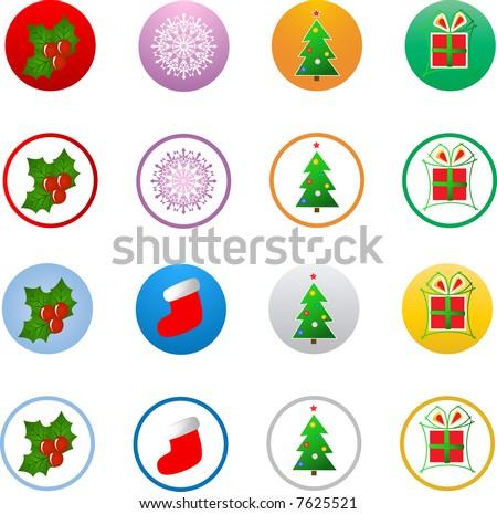 Vector christmas icon buttons - stock vector
