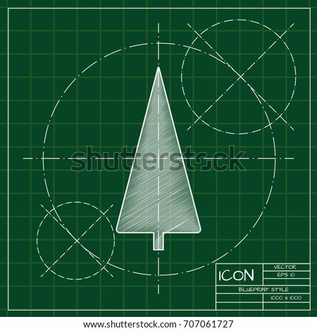 Vector christmas icon. New year illustration. blueprint Christmas tree on engineer and architect background