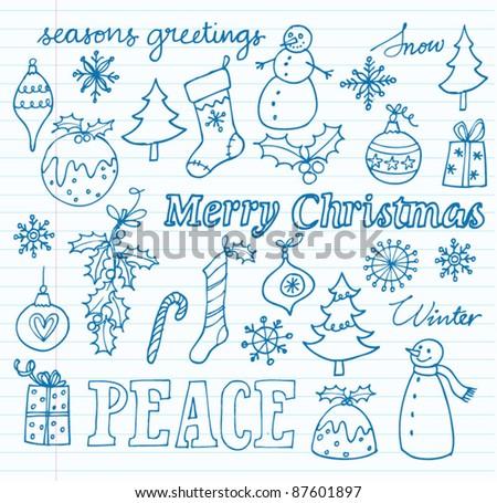 Vector Christmas icons doodles - stock vector