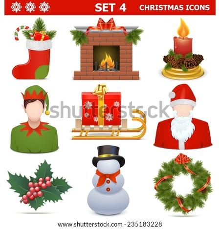 Vector Christmas Icons Set 4 - stock vector