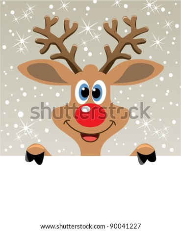 vector christmas illustration of happy red nosed reindeer holding blank paper for your text - stock vector