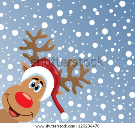 vector christmas illustration of red nosed reindeer looking at you - stock vector
