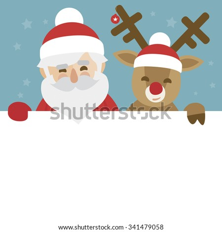 vector christmas illustration of santa claus and red nosed reindeer holding blank paper for your text - stock vector