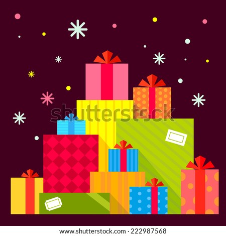 Vector Christmas illustration of the piles of presents on dark background with colorful snowflakes. Color bright flat design for card, banner, poster, advertising, blog