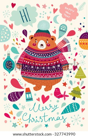 Vector Christmas illustration with Adorable cute little Bear. Christmas Postcard - stock vector