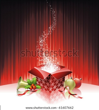 Vector Christmas illustration with gift box on red background - stock vector