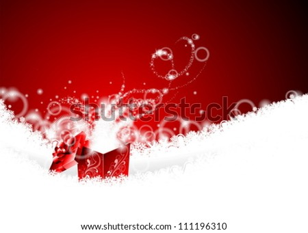 Vector Christmas illustration with magic gift box on snowflakes. - stock vector