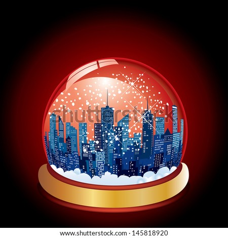 vector Christmas in the city with snow globe - stock vector