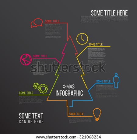 Vector Christmas  Infographic report template made from lines and icons, dark version - stock vector