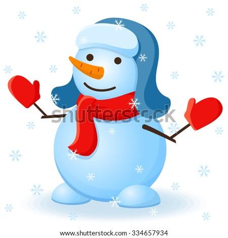 Vector christmas invitation card with snowman. - stock vector